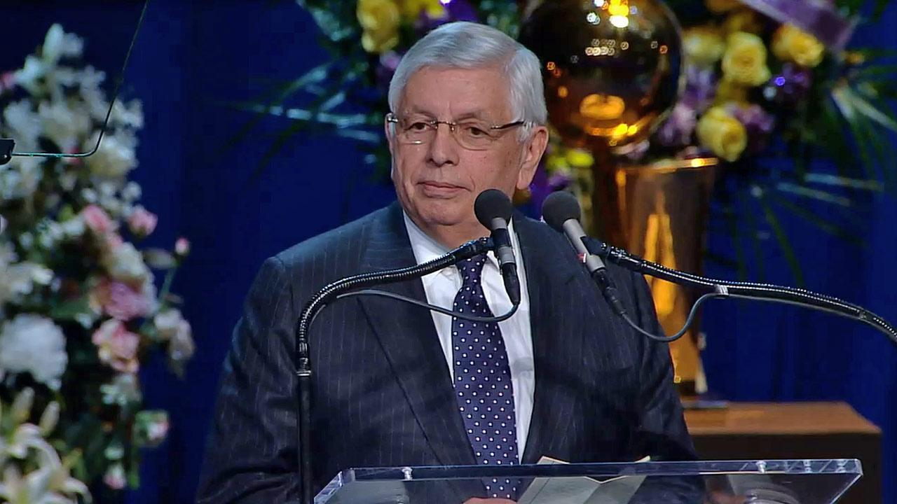 NBA Commissioner David Stern speaks at a memorial service for Dr. Jerry Buss at Nokia Theatre in downtown Los Angeles on Thursday, Feb. 21, 2013.