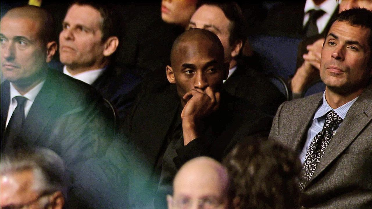 Kobe Bryant is seen at a memorial service for Dr. Jerry Buss at Nokia Theatre in downtown Los Angeles on Thursday, Feb. 21, 2013.