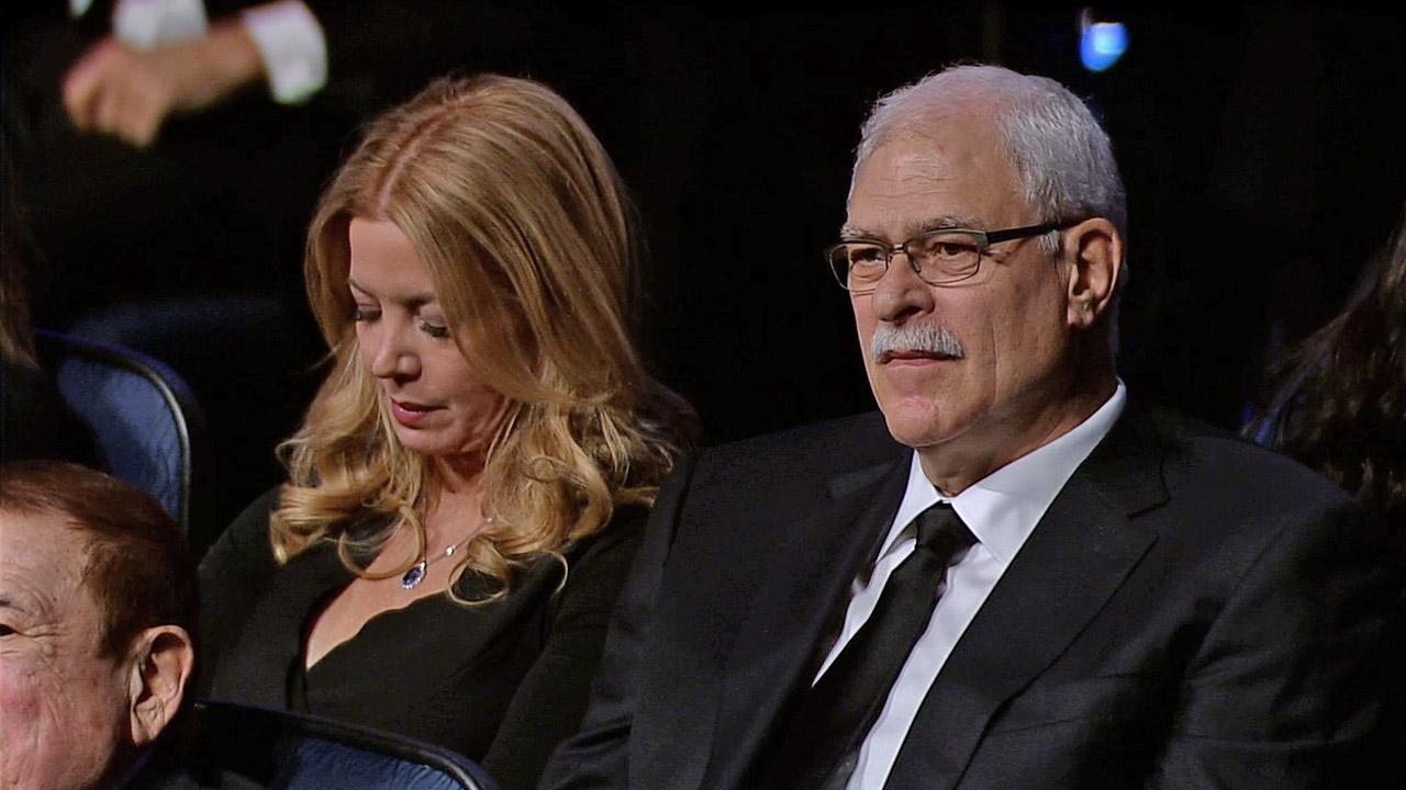 Jeanie Buss and Phil Jackson are seen at a memorial service for Dr. Jerry Buss at Nokia Theatre in downtown Los Angeles on Thursday, Feb. 21, 2013.
