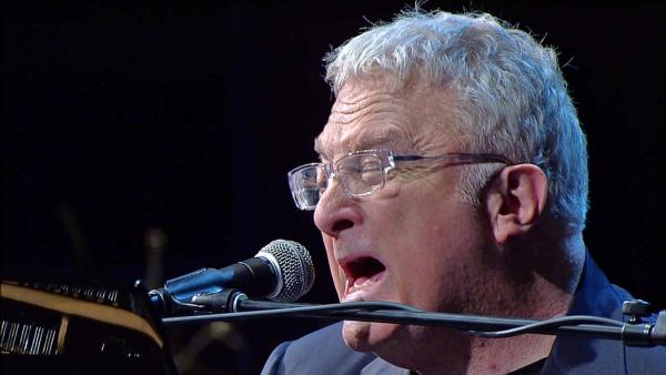 Randy Newman sings 'You've Got a Friend in Me' at the memorial service for Dr. Jerry Buss at Nokia Theatre in downtown Los Angeles on Thursday, Feb. 21, 2013.