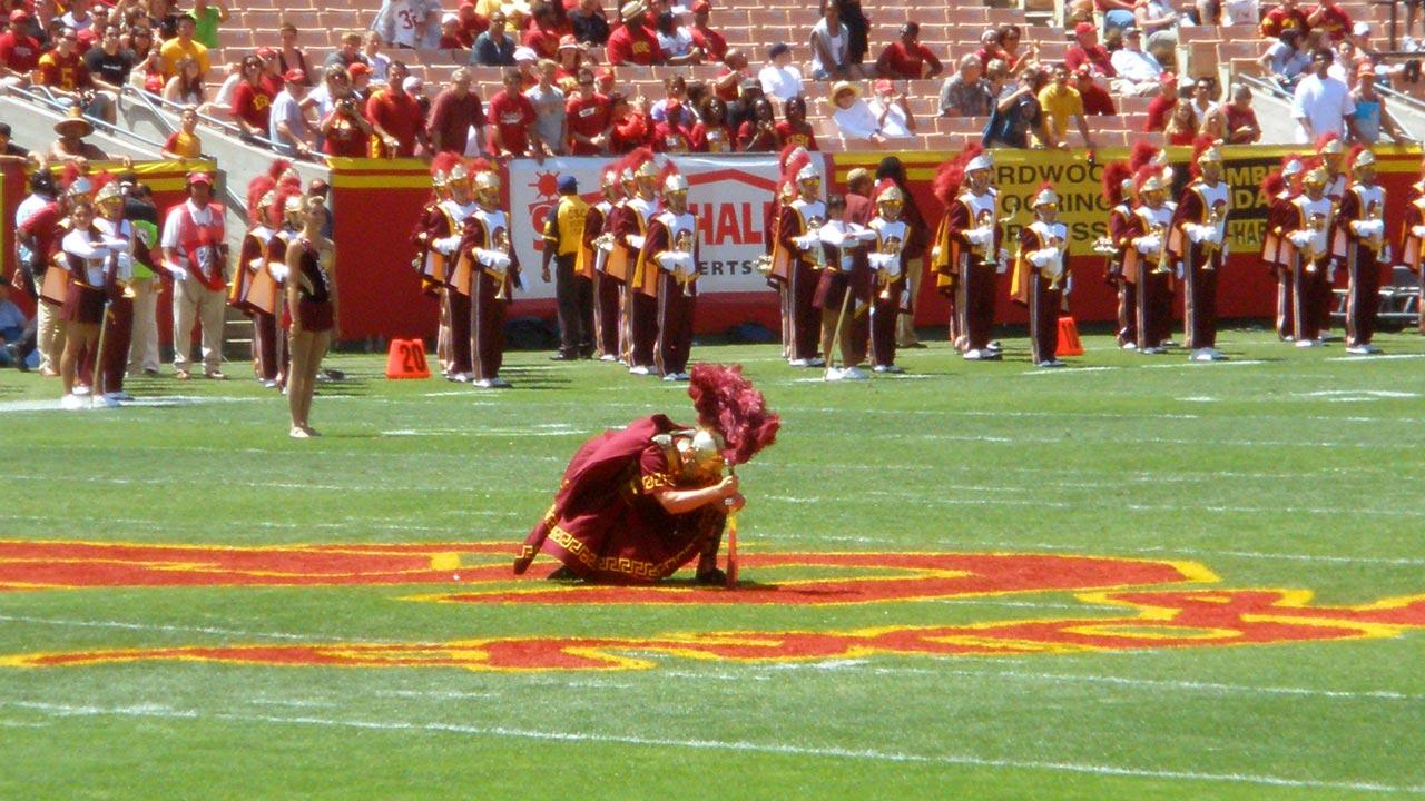The USC Trojan Marching Band drum major is seen stabbing the field in this undated file photo.