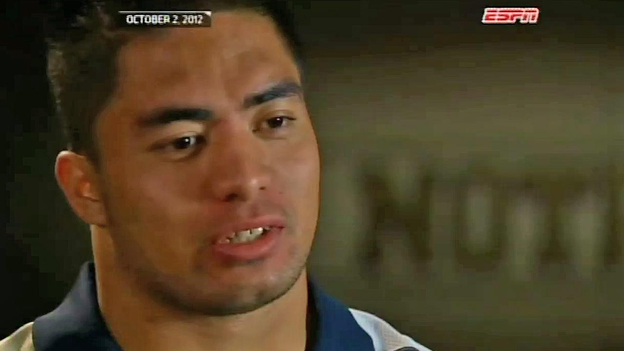 Notre Dame Fighting Irish football star Manti Teo talks to ESPN on Oct. 2, 2012.
