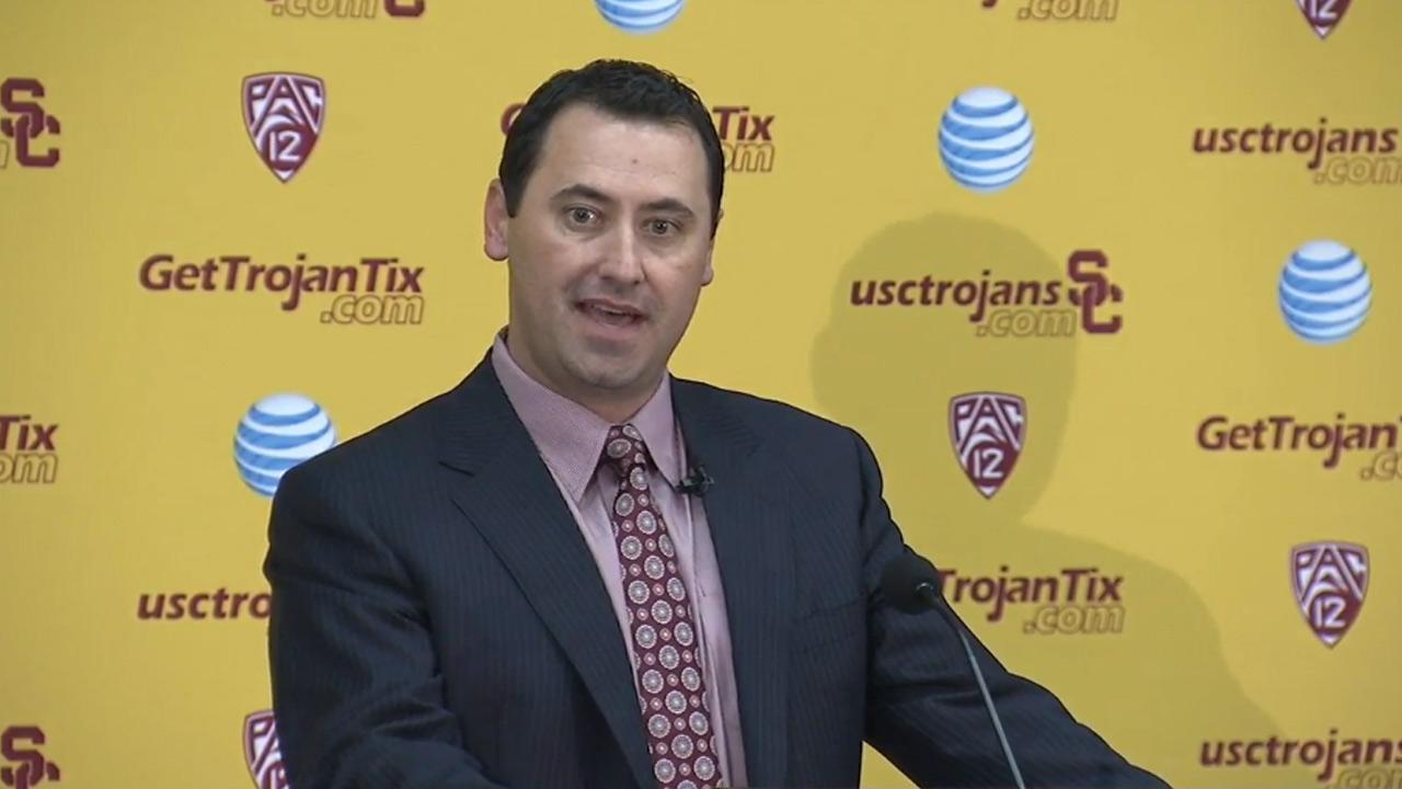Steve Sarkisian is formally introduced as the new USC head football coach on Tuesday, Dec. 3, 2013.