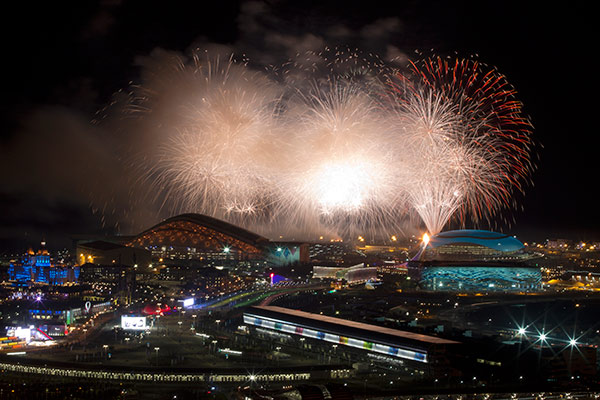 Fireworks explode over Olympic Park at the end of the opening ceremony for the 2014 Winter Olympics in Sochi, Russia, Friday, Feb. 7, 2014. <span class=meta>(AP Photo&#47;Pavel Golovkin)</span>
