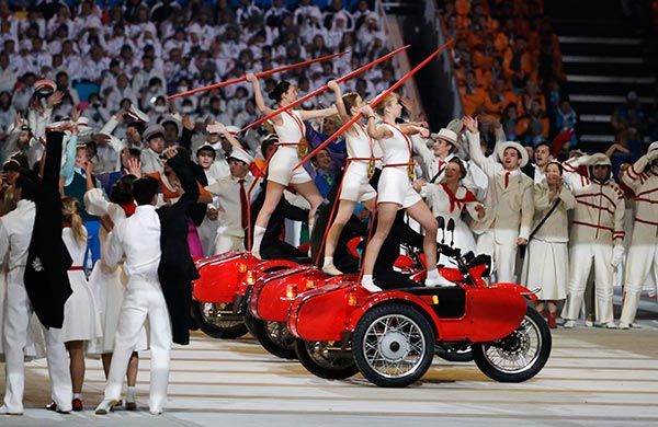 Artists perform during the opening ceremony of the 2014 Winter Olympics in Sochi, Russia, Friday, Feb. 7, 2014. <span class=meta>(AP Photo&#47;Mark Humphrey)</span>