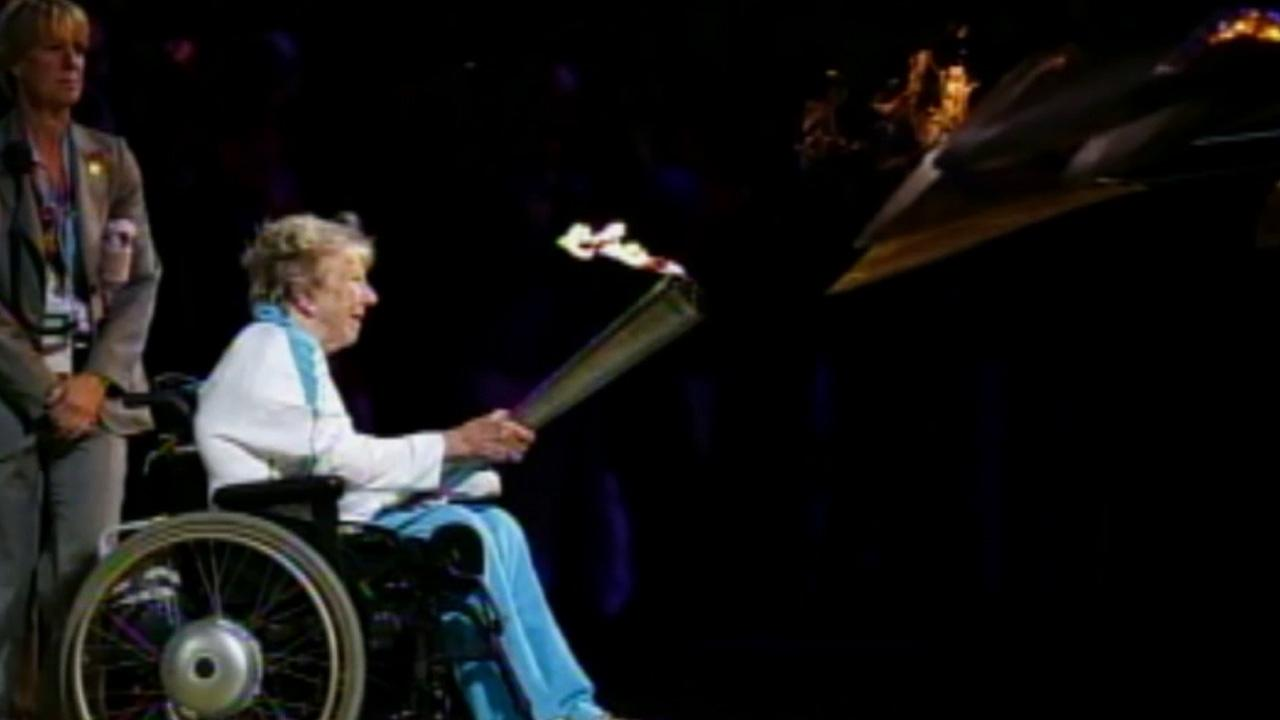 The torch is seen at the Paralympics Games  opening ceremony in London on Wednesday, Aug. 29, 2012.