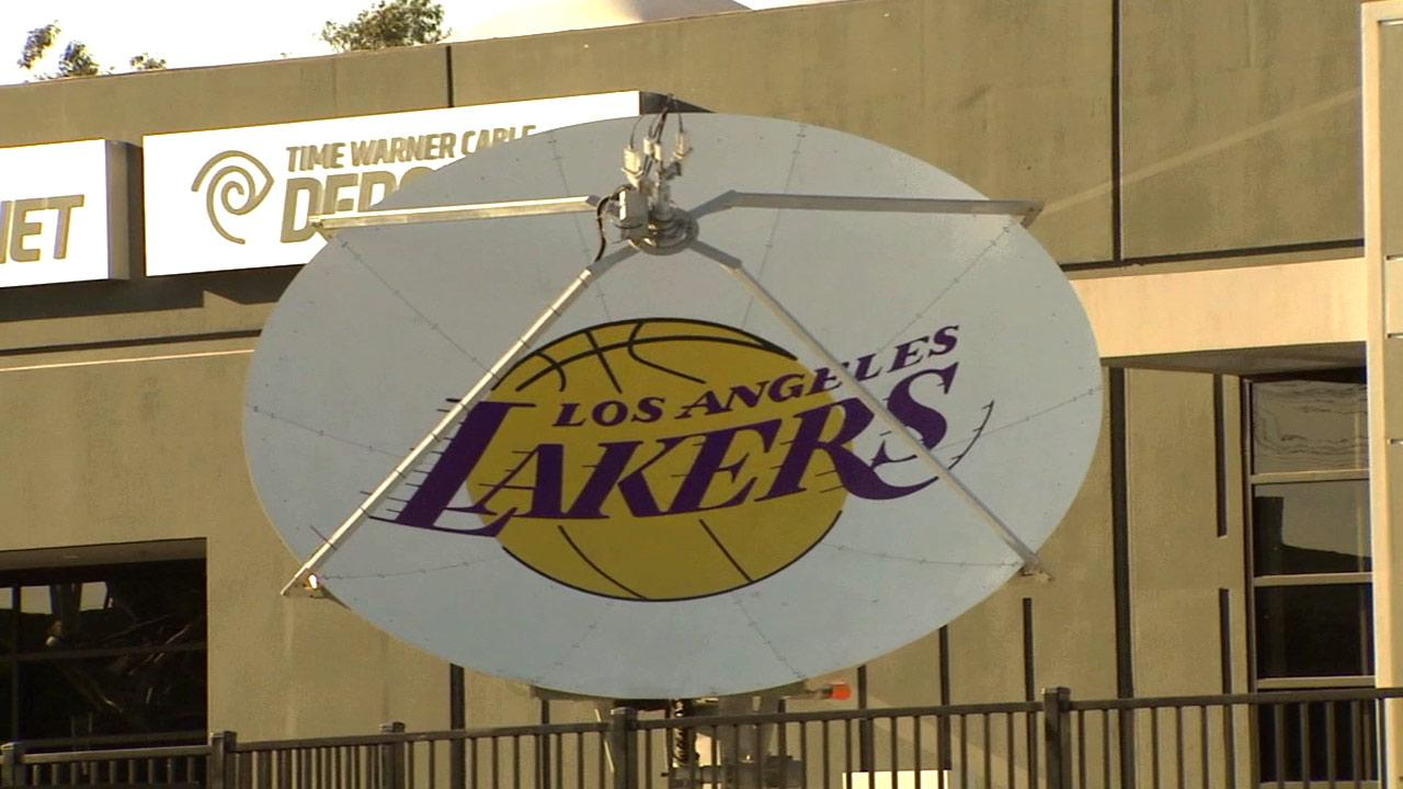 File photo of a Los Angeles Lakers satellite dish.