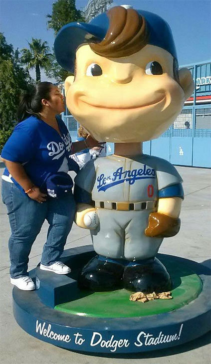 "<div class=""meta ""><span class=""caption-text "">Show us your Dodger love! Post your fan photos on our ABC7 Facebook page, and you might be featured on-air. You can also send us your photos on Twitter or Instagram with #abc7dodgers. LET'S GO DODGERS! (KABC Photo / Erika Estrada)</span></div>"