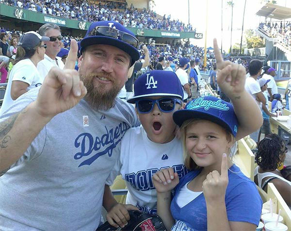 "<div class=""meta ""><span class=""caption-text "">Show us your Dodger love! Post your fan photos on our ABC7 Facebook page, and you might be featured on-air. You can also send us your photos on Twitter or Instagram with #abc7dodgers. LET'S GO DODGERS! (KABC Photo / Kim Stewart)</span></div>"