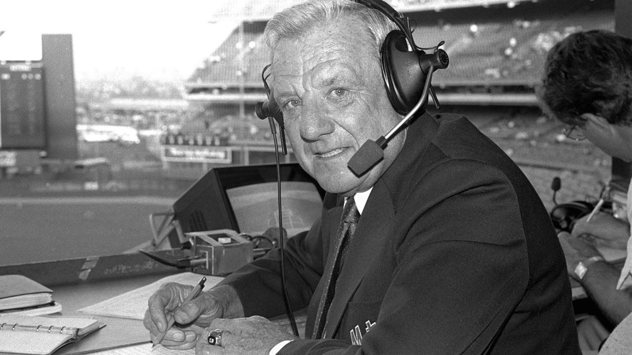 In this May 10, 1985 file photo, Hall of Famer Ralph Kiner is shown at Shea Stadium in New York. The longtime New York Mets broadcaster died Thursday, Feb. 6, 2014, at his home in Rancho Mirage, Calif. He was 91.Ron Frehm