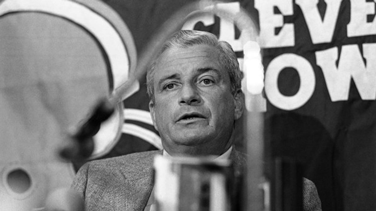 Art Modell answers questions during a news conference on the NFL players strike in 1982. Modell died Thursday, Sept. 6, 2012 of natural causes. <span class=meta>(Mark Duncan)</span>