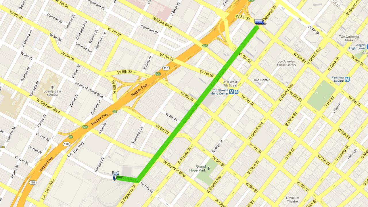 Google map showing LA Kings parade route on Thursday, June 14, 2012.
