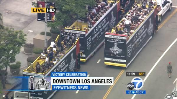The Los Angeles Kings players and their families get ready to roll down Figueroa Street in downtown Los Angeles to celebrate the team's first Stanley Cup win with a victory parade on Thursday, June 14, 2012.