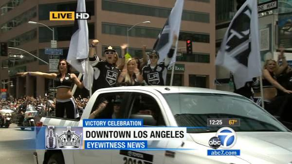 The Los Angeles Kings Ice Crew celebrates the team's first Stanley Cup win in franchise history at a parade in Los Angeles on Thursday, June 14, 2012.