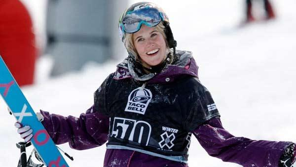 Sarah Burke, of Canada, is seen in this Jan. 28, 2010, file photo during the women's final at the Winter X Games at Buttermilk Mountain outside Aspen, Colo.