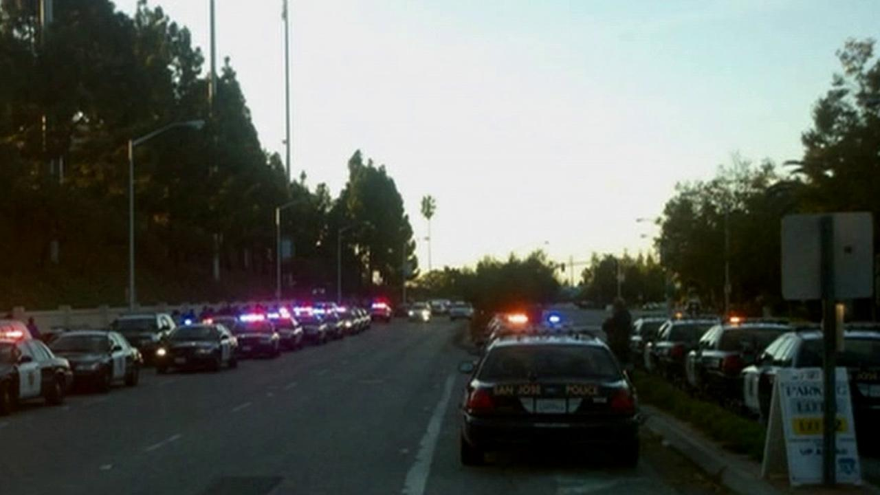 Police are seen outside Buck Shaw Stadium at Santa Clara University during a match between the Los Angeles Galaxy and San Jose Earthquakes on Sunday, Oct. 21, 2012.