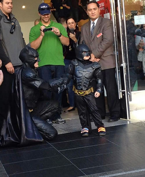 Batkid poses for a photo outside of Macy&#39;s in San Francisco&#39;s Union Square on Friday, Nov. 15, 2013. <span class=meta>(KGO-TV)</span>