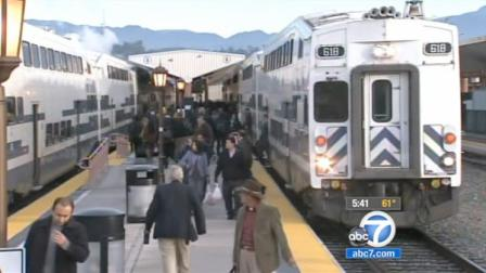 Metrolink commuters are seen in this undated file photo.