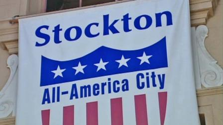 A banner for the city of Stockton, Calif. is shown in this undated file photo.