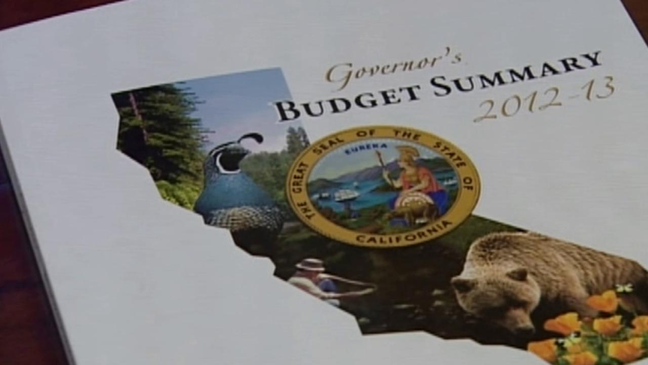 The cover for Gov. Jerry Browns 2012-2013 budget is shown in this 2012 file photo.