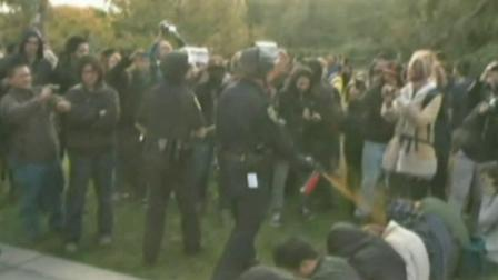 A police officer is shown pepper-spraying a group of sitting protesters at the University of California, Davis campus in this November image.