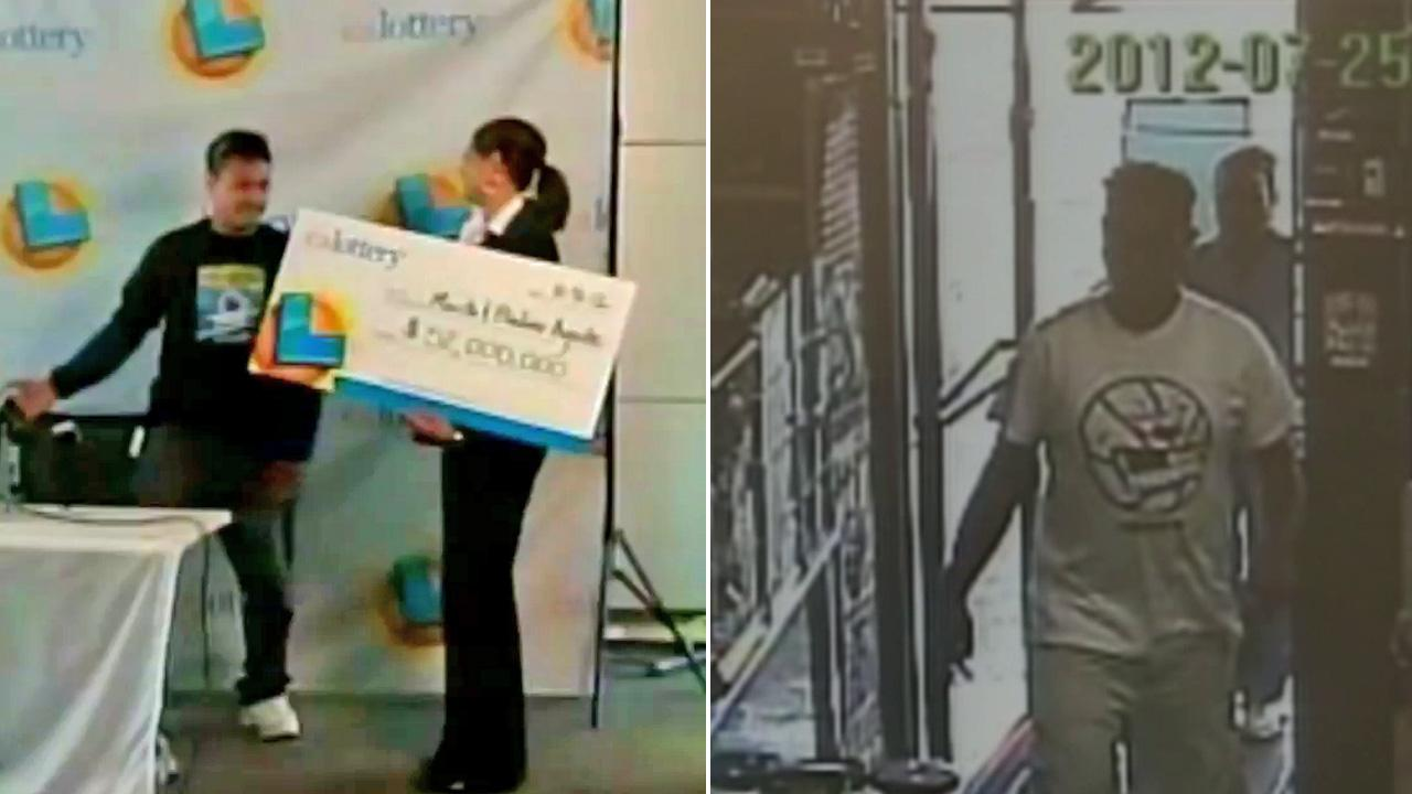 Bladimir Agnite, seen in both photos, claimed his $52 California Lottery jackpot after he recognized himself on surveillance photos released by lottery officials.