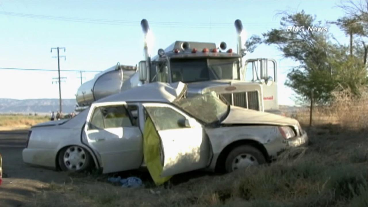 Four people were killed in a crash involving a Cadillac and a big rig in Kern County on Sunday, Sept. 2, 2012.