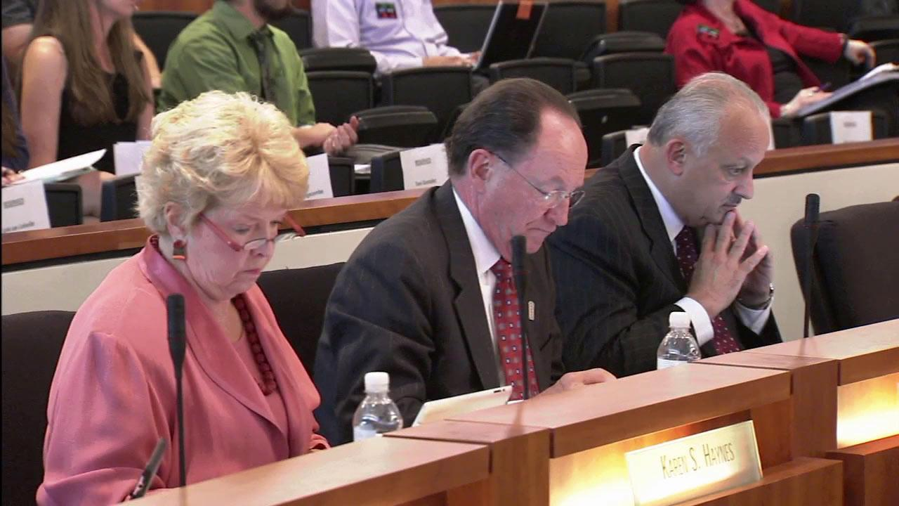 California State University officials are seen at a trustees meeting on Tuesday, Sept. 18, 2012.