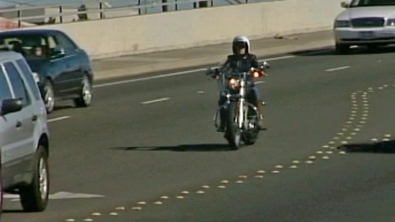 A motorcyclist is shown on the road in this undated file photo.