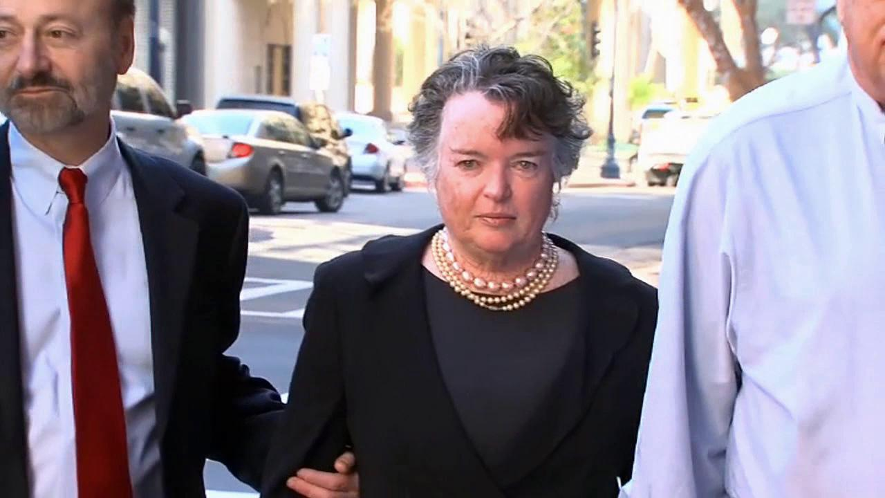 Former San Diego Mayor Maureen OConnor is seen outside a courthouse on Thursday, Feb. 14, 2013.