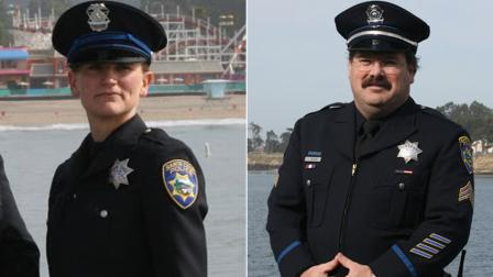 Veteran Santa Cruz police detectives Sgt. Loren Butch Baker and Officer Elizabeth Butler are seen in photos released by the police department.