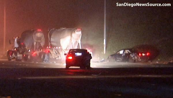 Big rig slams cars, pedestrian on SD fwy