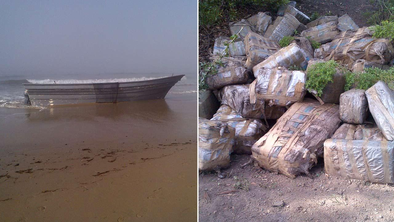 Deputies found nearly 2,000 pounds of marijuana hidden in a panga boat on Arroya Camada Beach in Santa Barbara on Sunday, March 17, 2013.