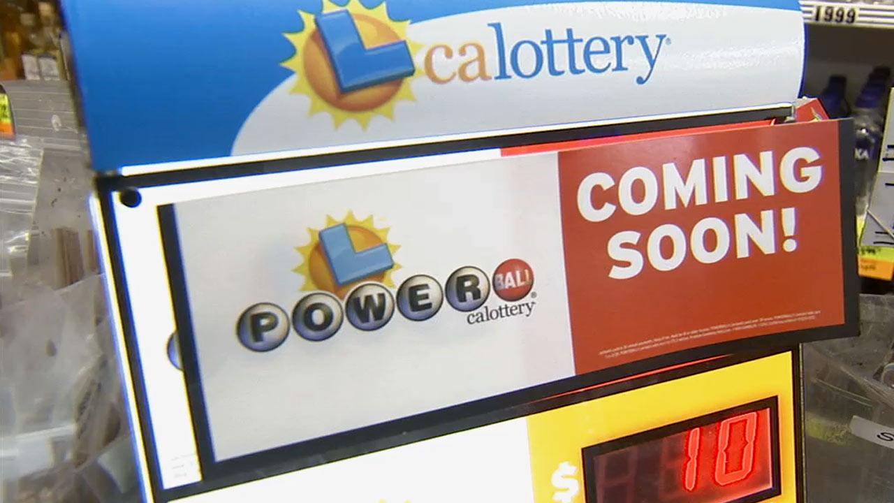 Undated file photo of a Powerball lottery sign on display.