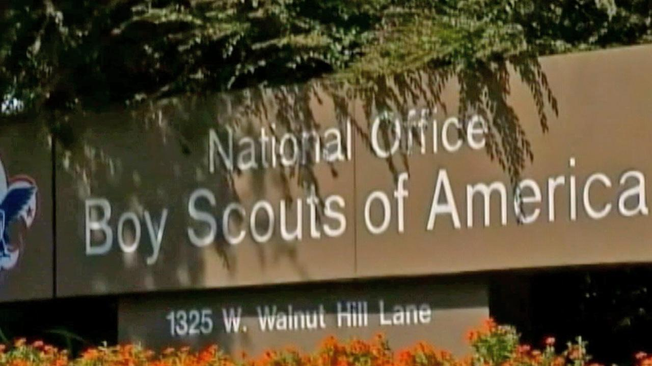 A sign for the National Office for the Boy Scouts of America is shown in this undated file photo.