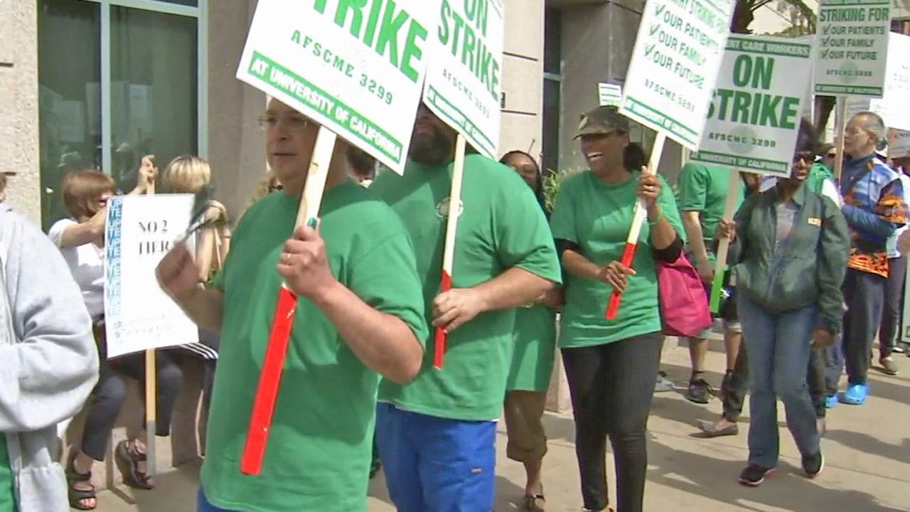 University of California hospital workers are seen during a strike in this May 2013 photo.