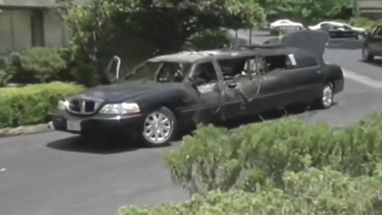 Ten elderly women escaped unharmed from a burning limousine in Northern California Sunday, June 9, 2013.
