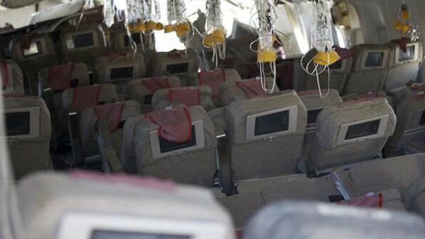 The interior of the Asiana Airlines Boeing 777 that crashed at SFO Saturday, July 6, 2013 is seen.
