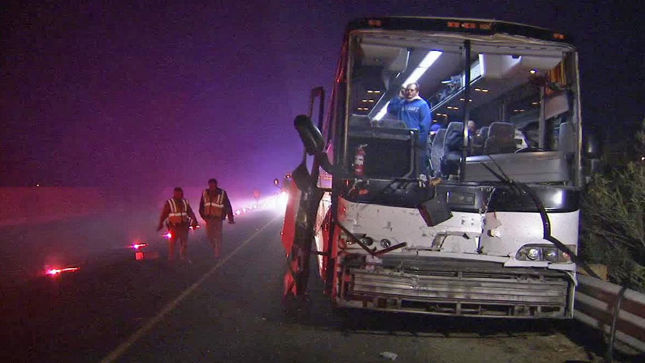A tour bus from Los Angeles slammed into a semi-truck in Central California, injuring more than a dozen people on Tuesday, Jan. 14, 2014.