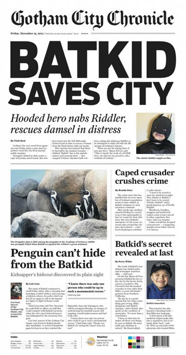 "<div class=""meta ""><span class=""caption-text "">The San Francisco Chronicle printed a special edition Friday, Nov. 15, 2013, just for Batkid. (San Francisco Chronicle)</span></div>"