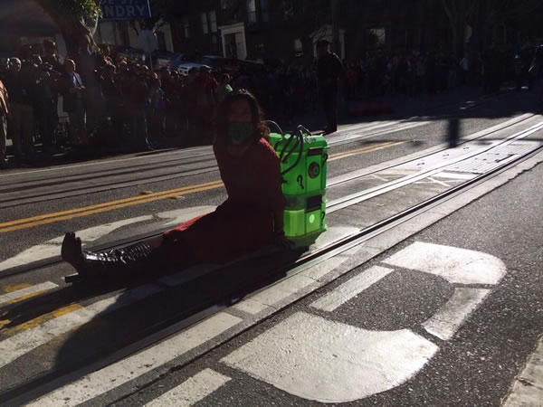 A damsel in distress at Hyde and Green streets in San Francisco waits for Batkid to come and save the day in &#39;Gotham City&#39; on Friday, November 15, 2013. <span class=meta>(Make-A-Wish of the Greater Bay Area)</span>