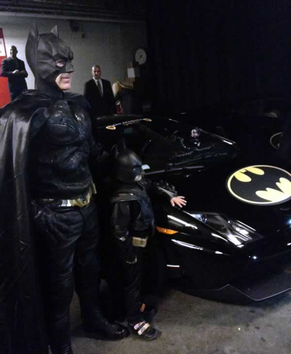Batkid preparing to leave the Bat Cave in the Batmobile to fight crime in &#39;Gotham City,&#39; in San Francisco on Friday, Nov. 15, 2013. <span class=meta>(KGO-TV)</span>