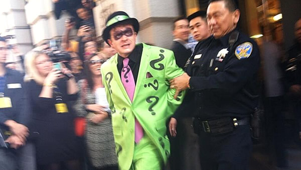 "<div class=""meta image-caption""><div class=""origin-logo origin-image ""><span></span></div><span class=""caption-text"">San Francisco police arrest the Riddler after a bank robbery thanks to Batkid! (KGO-TV)</span></div>"