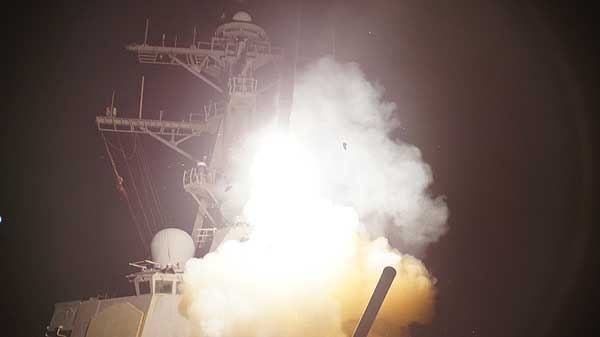 "<div class=""meta ""><span class=""caption-text "">The Arleigh Burke-class guided-missile destroyer USS Stout launches a Tomahawk missile in support of Operation Odyssey Dawn. This was one of approximately 110 cruise missiles fired from U.S. and British ships and submarines that targeted about 20 radar and anti-aircraft sites along Libya's Mediterranean coast. Joint Task Force Odyssey Dawn is the U.S. Africa Command task force established to provide operational and tactical command and control of U.S. military forces supporting the international response to the unrest in Libya and enforcement of United Nations Security Council Resolution 1973.  (U.S. Navy / ST3 Jeramy Spivey)</span></div>"