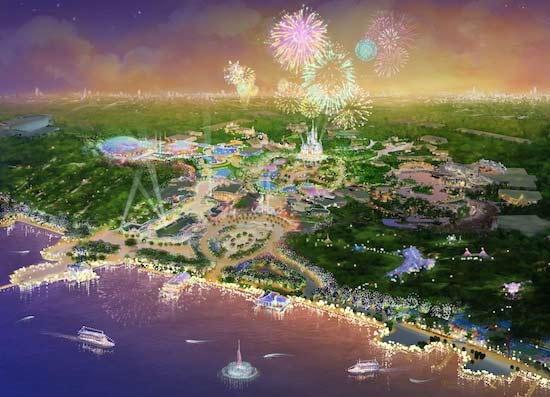 This photo shows an artist's rendering that depicts the proposed Shanghai Disney
