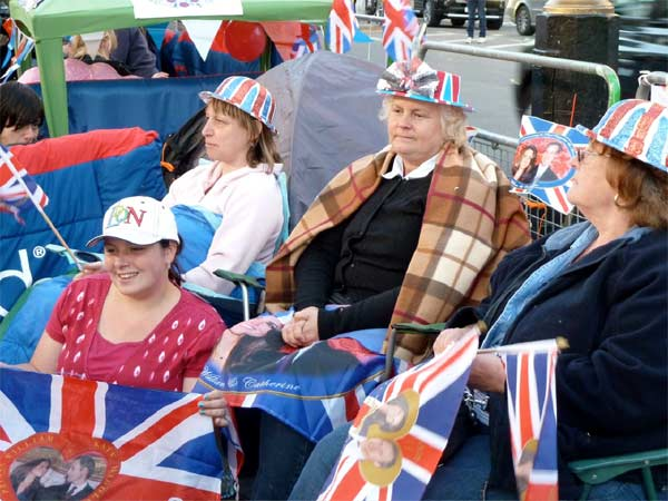 Revelers are camping out outside Westminster Abbey where Prince William and Kate Middleton are due to get married on Friday, April 29.