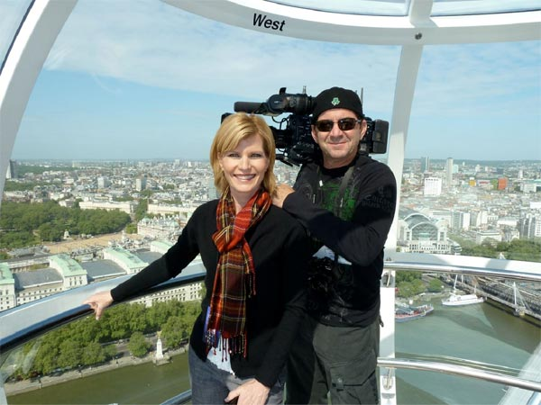 ABC7 anchor Michelle Tuzee and photographer Shawn McCarthy on the London Eye.