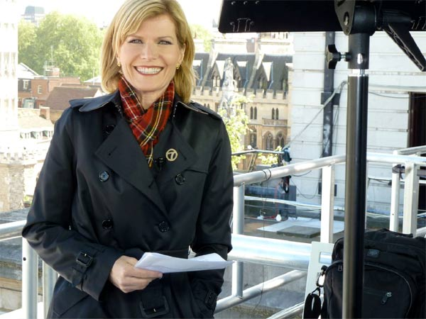 ABC7 anchor Michelle Tuzee gets ready for a live report in London.