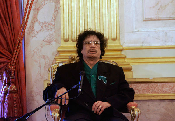 Libyan leader Moammar Gadhafi meets with lawmakers, unseen, from France&#39;s lower house of Parliament, Tuesday, Dec. 11, 2007 in Paris.  <span class=meta>(AP Photo&#47;Christophe Ena)</span>
