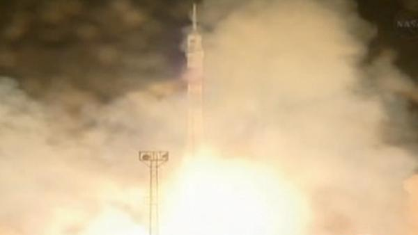 Soyuz bound for space station blasts off